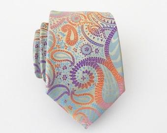 Mens Tie Neck Tie. Pastel Blue Purple Pink Paisley Mens Necktie