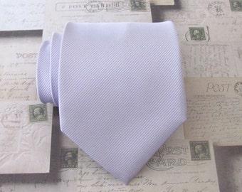 Mens Tie. Lavender Tonal Stripes Silk Necktie With Matching Pocket Square Option