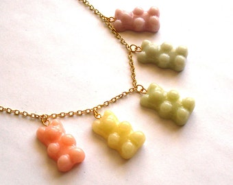 Pastel Gummy Bears Necklace Special Edition Gummy Bear Necklace Kawaii Candy Necklace Rainbow Jewelry - Polymer Clay Miniature Food Jewelry
