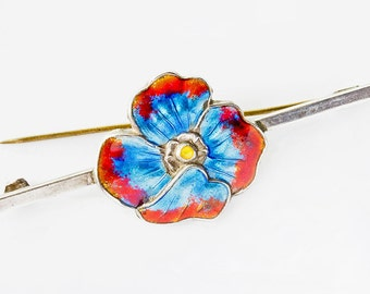 Vibrant At Deco Guilloche Enamel, Turquoise & Orange Poppy Style Flower Bar Silver Pin, Spring,Summer Jewellery 1920-1930