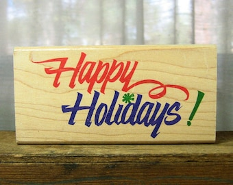 Christmas Rubber Stamp Wood Mounted Gently Used Happy Holidays