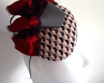 Checked Wool Cocktail Hat Hand Blocked Slouch Beret Wine and Grey Bow Millinery