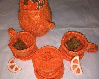 Plush Tea Set CLEARANCE ready to ship next day,light pink tea set,  unbreakable tea set, toy tea set, felt ,