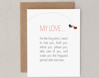 "Funny Anniversary Card. Sexy. For Man, Woman, Him, Her, Husband, Wife, Boyfriend, Girlfriend. Adult. ""Long Term, Short Term"" (CLV-S001)"