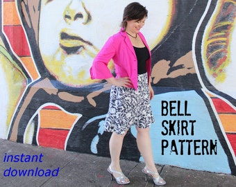"""Flattering Womens Skirt Pattern fits misses sizes Hips 34"""" to 46"""""""