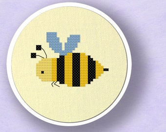Honey Honey. Bee Insect Modern Simple Cute Counted Cross Stitch Pattern PDF File. Nursery. Instant Download