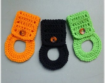 Towel Holders , Crochet Towel Hangers, Fall Colors, Home Decor, Removable, Orange, Black, Lime Green