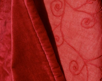 RED VELVET Embroidered Quilted Bed Cover Hand Dyed Sewn