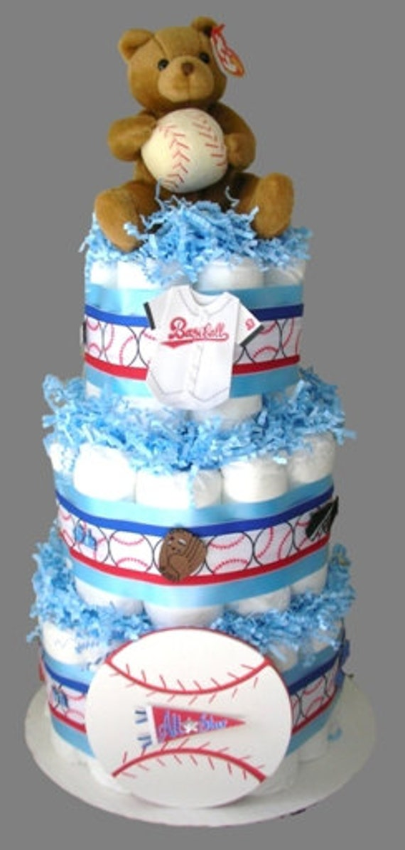 Diaper Cake for Boys BASEBALL SPORTS Diaper Cake Baby Shower Gift Centerpiece