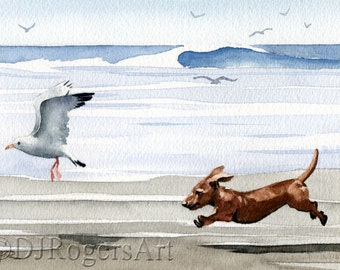 "Dachshund Art Print ""DACHSHUND At The Beach"" Signed by Watercolor Artist DJ Rogers"