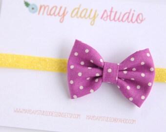 newborn baby toddler girls fabric bow headband - purple and white polka dot fabric bow on yellow glitter elastic headband