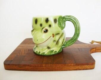 vintage frog cup green mug takahashi