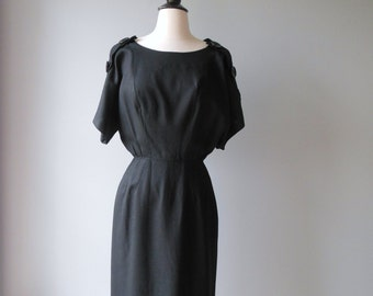 G. Fox and Co. black dress / 60s big button dress / button up baby dress