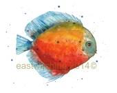 DISCUS FISH Print, Tropical fish , freshwater fish, colourful fish, aquarium, fish painting, watercolour fish, beach house decor