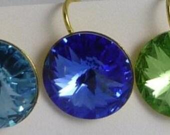 Beautiful Swarovski 14mm Rivoli earrings