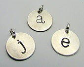 Silver Letter Charm | Silver Initial Charm | Lowercase Typewriter Style Hand Stamped Charm Pendant, Sterling Silver Chelsea E. Ria Designs