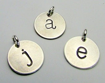 Silver Letter Charm | Half-Inch Silver Initial | Lowercase Typewriter Hand Stamped Pendant by E. Ria Designs