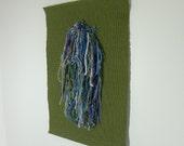 Wallhanging, Wall Hanging, Handwoven, Fiber Art, Art,  Waterfall, Green, Blue, Texture
