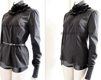 SALE  Black ruffles neck blouse