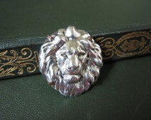 Lion Brooch, Lion Pin, Animal Brooch, Jungle Animal, Zoo Animal, Silver Lion, Lion Head, Lion's Mane, Woodland Animal, Sweater Pin, Unisex