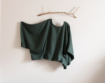 plus size emerald linen wide kimono sleeve over size top made to order