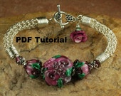 Plum Rose Garden Viking Knit Bracelet Tutorial, Lampwork Beaded Bracelet Tutorial,  Viking Knit Tutorial SRA 198 by CC Design
