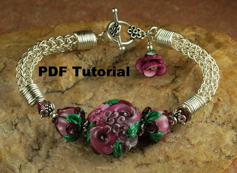 Viking Knitting Tutorial Pdf : Plum rose garden viking knit bracelet tutorial lampwork