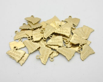 South Carolina State Charm, Raw Brass, 5 pieces, Made in the USA