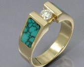 Yellow Gold Turquoise Inlaid Diamond Solitaire Ring