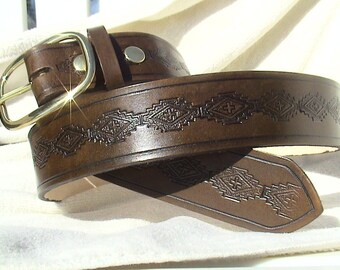Classic 1.5 inch wide - Hand-stamped - Stepped SouthWest Design Belt with buckle