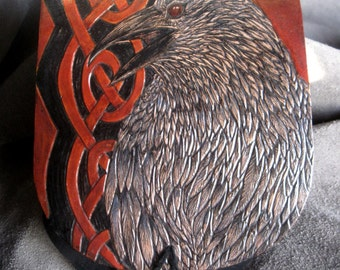 raven sight - MADE TO ORDER - hand tooled elkhide belt pouch purse