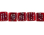 2  Handmade Glass Tile Beads - color Moulin Rouge, 15mm (22686)