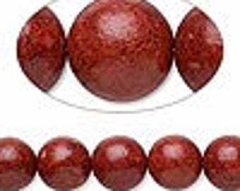 10 Sponge Coral round 9-10 mm beads (dyed,  Mohs hardness 3-1/2 to 4)