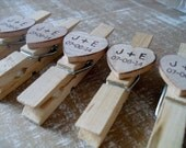 Wooden Wedding Clothespins Personalized - Set of 25 - Item 1577