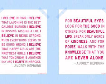 I Believe in Pink You Are Never Alone Digital Print Set Audrey Hepburn Quote Print Collection 8 x 10 Printable Wall Nursery Art