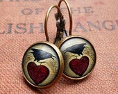 Raven and Red Heart No.1 Leverback Earrings (RR06)