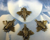 Brass Ox Plated Bumble Bee Connectors 314BOX x4