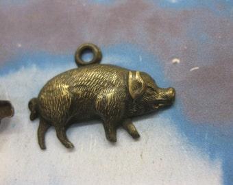 Hand Oxidized Patina  Pig Charms 151HOX x2