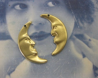 Celestial Raw Brass Man in the Moon Charms 254RAW x2