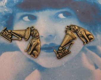 Brass Ox Plated Antique Victrola with Dog Charms RCA Logo 156BOX x2