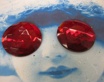 Vintage 35mm Ruby Red Glass Faceted Cabochon 2282RUBY x2