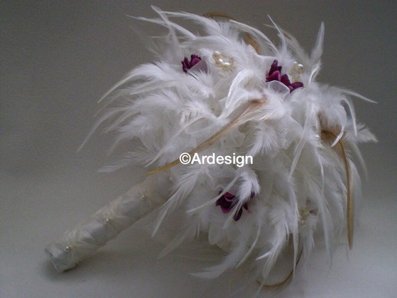 WISH Feather And Organza Bouquet With Pearls
