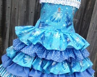 Made to Order  Disney Kinkade Cinderella 5 Ruffle Dress Girl 2 3 4 5 6 7 8