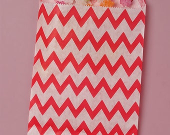 25 Pack 5 X 7 Inch Color and White Zig Zag Flat Paper Food Safe Bags