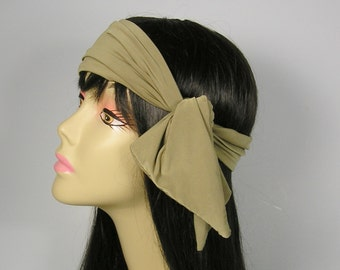 Khaki Green Head Scarf Khaki Hair Scarf Neck Scarves Hair Scarves Do Rags Khaki Headband Rocker Hair Scarves Chef Headbands Biker Do Rags
