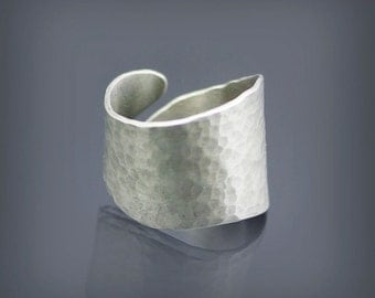Hammered Sterling Silver Wrap Ring, hammered silver ring, unisex ring