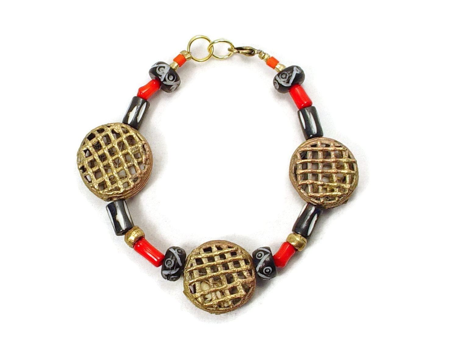 Bracelet African Trade Beads of Brass Disk Beads Coral and