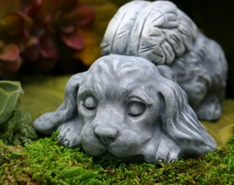 "Angel Dog Statues ""Cocker Spaniel Angel"" Concrete Garden Decor"