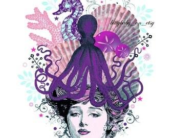 "Digital Art Collage  ""Orenda_Purple"" Purple/Coral/Beach/Octopus ""Head Cases"" series"
