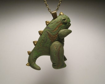 Go Go Godzilla Necklace - Polymer Clay Jewelry - Dinosaur Jewelry